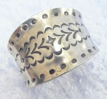 Vintage Jorgen Jensen Wide Imprinted Pewter Cuff Bracelet