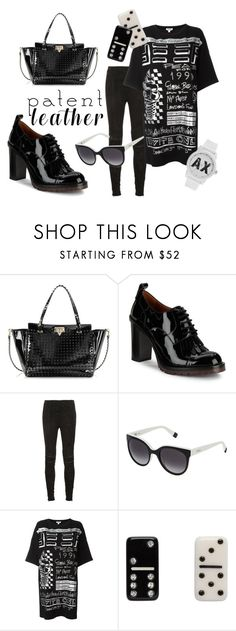 """""""Patent Power"""" by dakini-cobra ❤ liked on Polyvore featuring Valentino, Yves Saint Laurent, Furla, Kenzo, Marc Jacobs and Armani Exchange"""