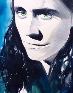 Loki Fine Art Print of Original Watercolor by KimberlyGodfrey