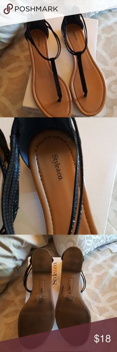 7642e3739de Sandals Style and Co black sequence sandals. Used several times. Very soft  and comfortable