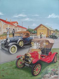 Oil painting of Ford vintage cars during the 1930's @@@............http://www.pinterest.com/reen79/art-i-wish-i-owned/