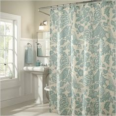 Linen-blend shower curtain with blue and white bird and floral motif. Product: Shower curtain Construction Material: Poly linen Color: Aqua Dimensions: 72 H x 70 W Cleaning and Care: Machine wash cold. Bird Shower Curtain, Floral Shower Curtains, Bathroom Shower Curtains, Master Bathroom, Downstairs Bathroom, White Bathroom, Seafoam Bathroom, Bird Curtains, Camper Curtains