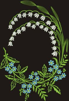 Border Embroidery, Machine Embroidery Designs, Embroidery Stitches, Embroidery Patterns, Machine Applique, Embroidery Jewelry, Monogram Machine, Lily Of The Valley Flowers, Effects Photoshop