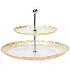 #VIETRI #RuffleGlass: Gold Two-Tiered Plate