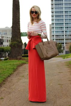 The #coral way..great peplum maxi