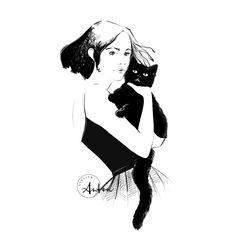 Black cat on Halloween illustration by Camilla Locatelli http://atelierantea.com/