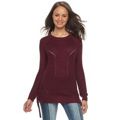 Juniors' SO® Lace-Up Tunic Sweater, Teens, Size: Medium, Red