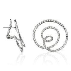 Stefan Hafner Hoola Hoop 18K White Gold Earrings With Diamonds featured in vente-privee.com