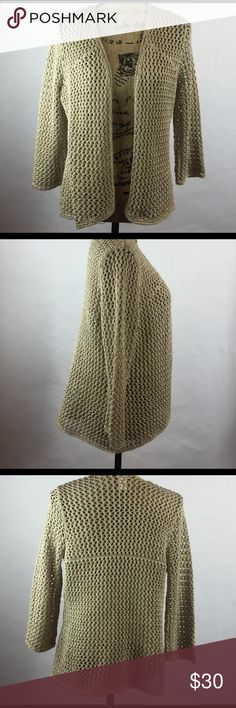 Chico's Open Weave Cardigan Gold with metallic in weaving.  Size 1 equal to medium or size 8. Chico's Sweaters Cardigans