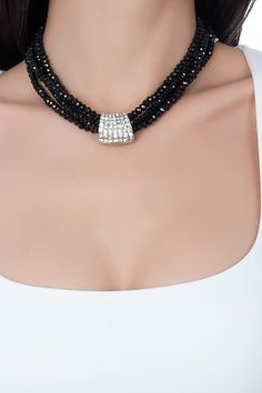 Marks & Spencer Big Black Cubic Zirconia Necklace with style and elegance . - Complete your style and elegance with Marks & Spencer Big Black Zirkon Necklace, discover fashion. Gold Jewellery Design, Bead Jewellery, Diy Necklace, Necklace Designs, Stone Necklace, Spencer, Handmade Jewelry Designs, Bijoux Diy, Jewelry Patterns