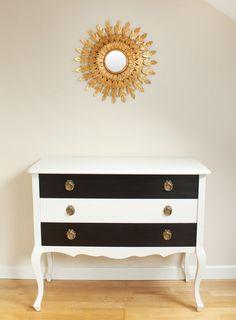 Cómoda blanca y negra 3 cajones · Black & White chest of drawers