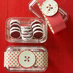 Dressed-Up Glass Dish with ribbon sash and homemade tag when giving baked treats this season - Link to Red Velvet Shortbread Cookies