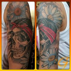 713e6c5da639a Broken Lantern Tattoo : Tattoos : Glenn Collins : custom color skull .