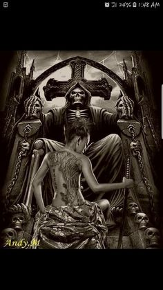 Born to fuck shit up. Grim Reaper Art, Grim Reaper Tattoo, Angel And Devil, Angel Of Death, Skull Rose Tattoos, Dark Art Tattoo, Gothic Fantasy Art, Lowrider Art, Satanic Art