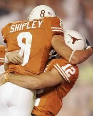 Jordan Shipley & Colt McCoy, Original Dream Team and loves of my life. College Football Players, Rugby Players, Football Moms, Football Season, Texas Longhorns Football, Ut Longhorns, Girls Football Boots, Football Stuff, Colt Mccoy