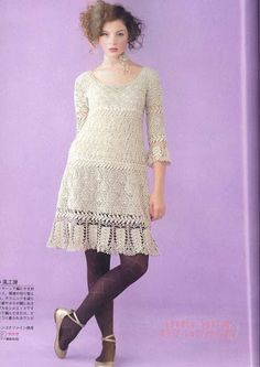 Japanese crochet patterns with charts Knit Dress, Dress Skirt, Japanese Crochet Patterns, Crochet Shirt, Beautiful Crochet, Crochet Clothes, Crochet Dresses, Dress Patterns, Nice Dresses
