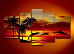 5 Pics Hawaii Sunset Beach Dolphin Palm Tree Modern Art Hand Painted Oil Painting on Canvas Wall Art Deco Home Decoration (Unstretch No Frame) Home & Kitchen Hand Painting Art, Large Painting, Oil Painting Abstract, Abstract Wall Art, Abstract Landscape, Oil Paintings, Painting Canvas, Paintings Online, Acrylic Paintings