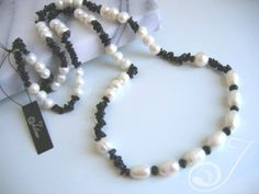 Funky Long White Mixed Pearl and Black Onyx Chip Necklace Set in Sterling Silver Spacers Chain and Pearled Fob Clasp – Extreme pearl lovers seen here black and White Hailey Long Pearl Necklace… Long Pearl Necklaces, Pearl Drop Earrings, Pearl Jewelry, Necklace Set, Beaded Necklace, Beaded Bracelets, Black Onyx, Pearl White, Jewellery