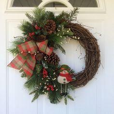 Christmas Wreath-Snowman Wreath-Whimsical Wreath-Holiday Wreath-Whimsical Christmas-Rustic Wreath-Woodland Christmas-Country Christmas by ReginasGarden on Etsy https://www.etsy.com/listing/255423389/christmas-wreath-snowman-wreath
