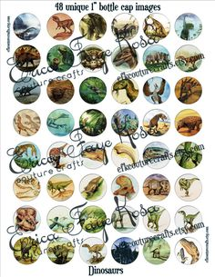 DIY Bottlecap Images Dinosaurs Digital by EFKCoutureCrafts on Etsy, $2.00