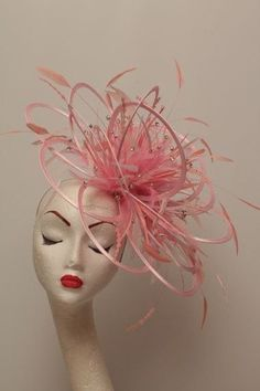 Large Pink Rhinestone Diamante Feather Fascinator Hat