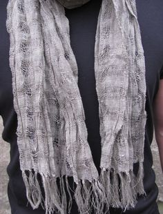 Mens Scarf Gray Linen Scarf for Men Linen Burlap by whooploop