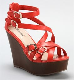 SALE-Coral+Buckle+Strap+Wedges