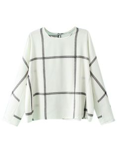 Shop White Plaid Long Sleeve Blouse from choies.com .Free shipping Worldwide.$13.99