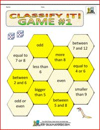 Classify It Game 1. A kindergarten math game about properties of numbers. Vocabulary - odd, even, more than, less than, bigger than, smaller than