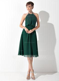 Bridesmaid Dresses - $99.99 - A-Line/Princess Scoop Neck Knee-Length Chiffon Bridesmaid Dress With Ruffle (007025846) http://jjshouse.com/A-Line-Princess-Scoop-Neck-Knee-Length-Chiffon-Bridesmaid-Dress-With-Ruffle-007025846-g25846