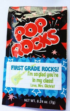 Gilchrist's Class: First Grade Rocks! {A Pop Rocks Treat for Open House} halloween activities for the classroom, family halloween activities, halloween activities for babiesMrs. Gilchrist's Class: First Grade Rocks! {A Pop Rocks Treat for Open House} Back To School Night, 1st Day Of School, Beginning Of The School Year, School Fun, School Stuff, School Days, School Treats, School Gifts, Student Gifts
