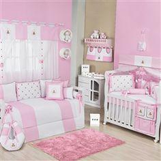 Kit completo para quarto de bebê: Teddy Rosa