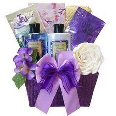 creative purple gift basket