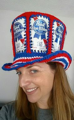 Fishlips the Mad Hatter, PBR beer can crocheted Mad  Hatter Hat. www.facebook.com/fishlipsthemadhatter