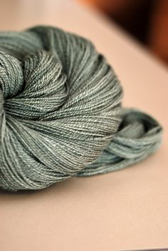 "handspun by purlverde... Light Fingering Weight Merino/Bamboo, ""Silversword"""
