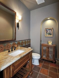 Mediterranean Powder Room Design, Pictures, Remodel, Decor and Ideas - page 2