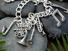 Musical Instruments Silver Charm Bracelet  guitar by cuteandfun, $40.00