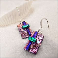 Dichroic handmade dichroic earrings unique by HanaSakuraDesigns