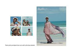 flesh pink yarn dyed linen sari