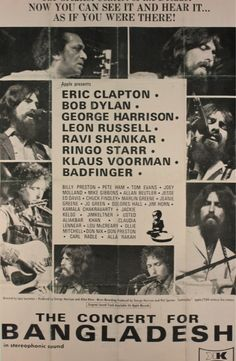 George Harrison's Concert For Bangladesh August 1971 Madison Square Garden New York City. Bob Dylan Art, Bob Dylan Poster, Rock Posters, Band Posters, Lps, Pete Ham, Concert For Bangladesh, Billy Preston, Poster