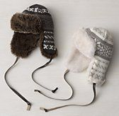 Fair Isle Knit & Luxe Faux Fur  Hat Grey Small/Medium