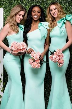 Unique One Shoulder Mermaid Long Bridesmaid Dress, Sexy Long Bridesmaid Dresses N1358 #bridesmaiddress #bridesmaiddressesmermaid