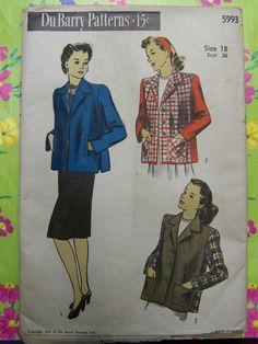 CLASSIC Vintage 1940s DuBarry 5993 JACKET pattern  Size 18 bust 36 by RaggsPatternShop on Etsy
