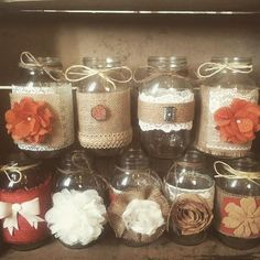 Mason jars with lace and twine -- could use colored sand with candles inside Lace Mason Jars, Mason Jar Lanterns, Mason Jar Centerpieces, Mason Jar Crafts, Flower Centerpieces, Rustic Wedding Centerpieces, Wedding Decorations, Burnt Orange Weddings, Head Table Decor