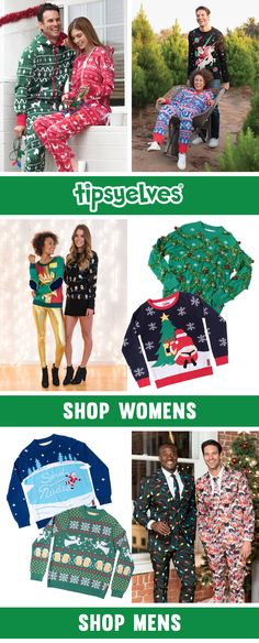 """""""I wish Christmas was more boring,"""" said no one. Bring the party this Christmas season with Tipsy Elves ugly Christmas gear. With high quality materials and hilarious designs, our ugly Christmas apparel is sure to be a hit. Shop 100+ ugly Christmas sweaters, suits, jumpsuits, tees, leggings, and more!"""