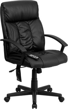 Flash Furniture BT-9578P-GG High Back Massaging Black Leather Executive Office Chair