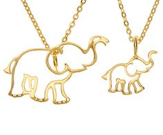 Known for their loyalty to family and protective nature, our elephant charm symbolizes the importance of loved ones. This elephant's trunks faces upwards as a symbol of good luck! Part of our TWO x TW Elephant Jewelry, Elephant Necklace, Elephant Rings, Elephant Love, Elephant Stuff, Mother Daughter Necklace, Mommy And Me, Necklace Set, Baby Necklace