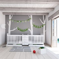 Cunas convertibles para gemelos colección MATHS en color blanco. Convertible cribs for twins. White baby bedroom #nursery