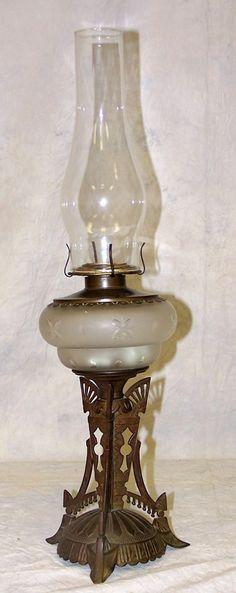 Egyptian Revival Bronze Oil Lamp