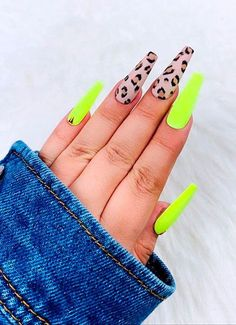 Cheetah Nail Designs, Neon Nail Designs, Cheetah Nails, Short Nail Designs, Gold Nails, Acrylic Nail Designs, Nails Design, Bright Summer Acrylic Nails, Summer Nails